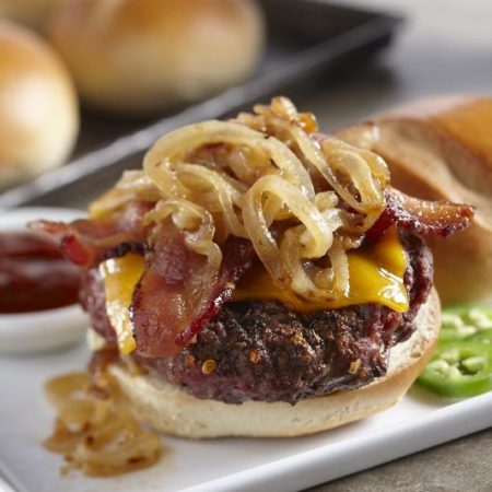 Image of Bacon Cheddar BBQ Burger With Caramelized Onions