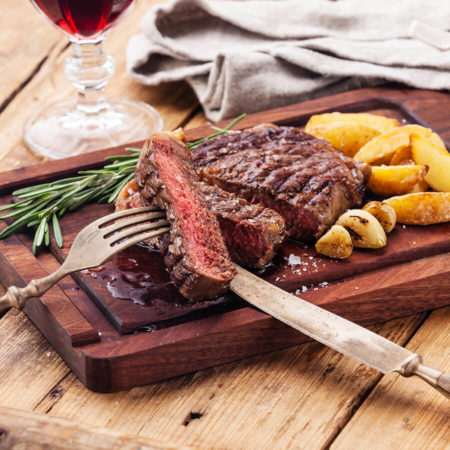 Image of Chicago Rib Eye Steaks With Grill Roasted New Potatoes